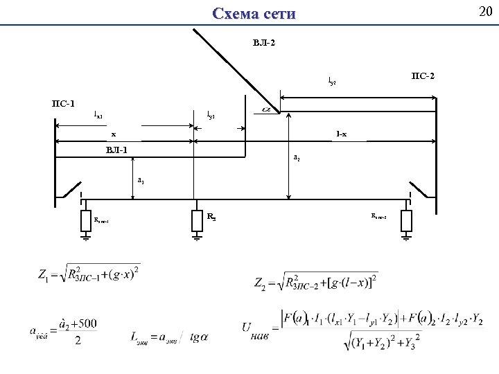 20 Схема сети ВЛ-2 ПС-2 ly 2 ПС-1 lx 1 ly 1 х l-х