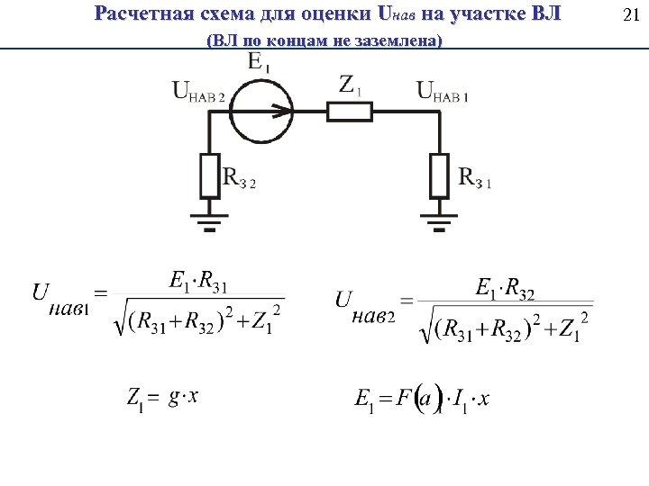 Расчетная схема для оценки Uнав на участке ВЛ (ВЛ по концам не заземлена) 21