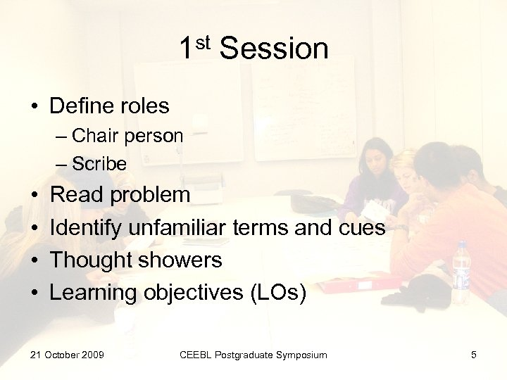 1 st Session • Define roles – Chair person – Scribe • • Read