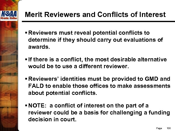 Merit Reviewers and Conflicts of Interest § Reviewers must reveal potential conflicts to determine