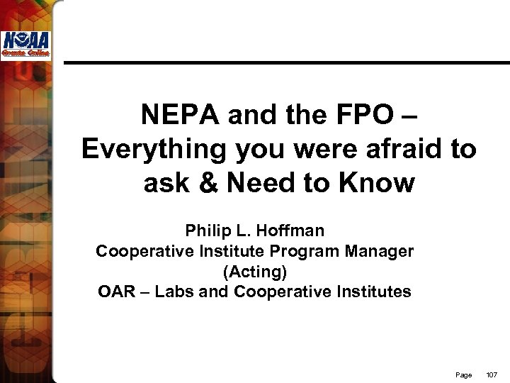 NEPA and the FPO – Everything you were afraid to ask & Need to