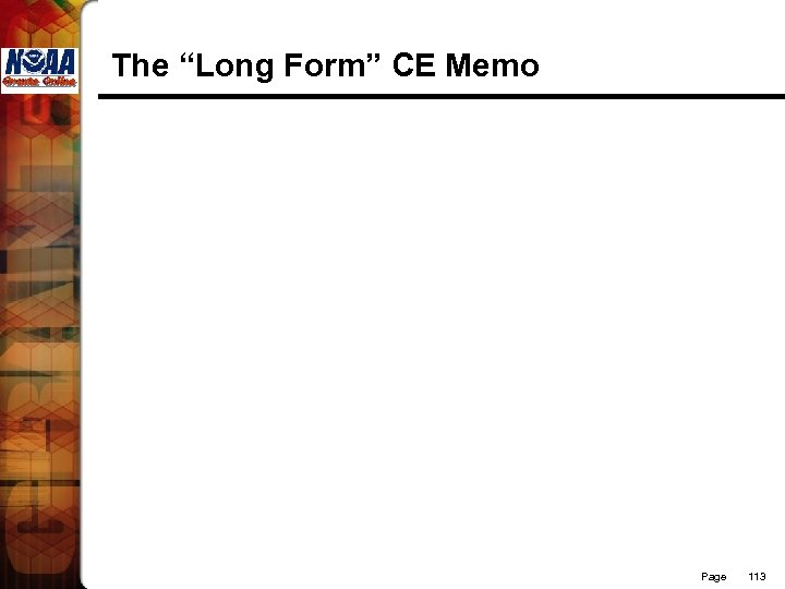 """The """"Long Form"""" CE Memo Page 113"""