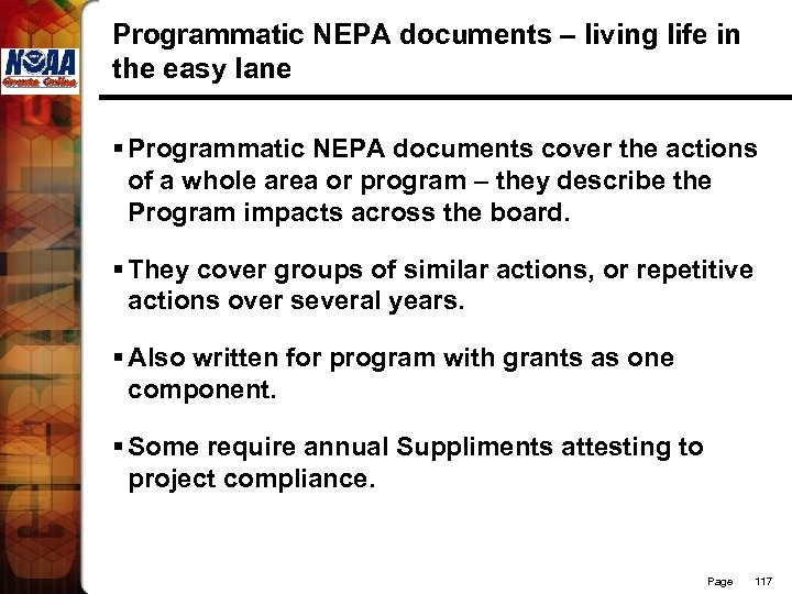 Programmatic NEPA documents – living life in the easy lane § Programmatic NEPA documents