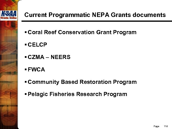Current Programmatic NEPA Grants documents § Coral Reef Conservation Grant Program § CELCP §