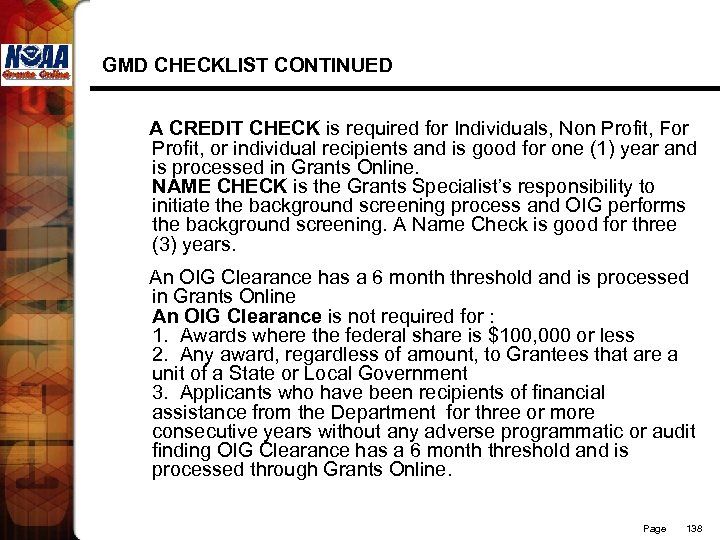 GMD CHECKLIST CONTINUED A CREDIT CHECK is required for Individuals, Non Profit, For Profit,