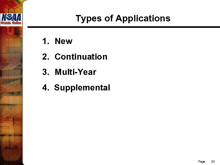 Types of Applications 1. New 2. Continuation 3. Multi-Year 4. Supplemental Page 20