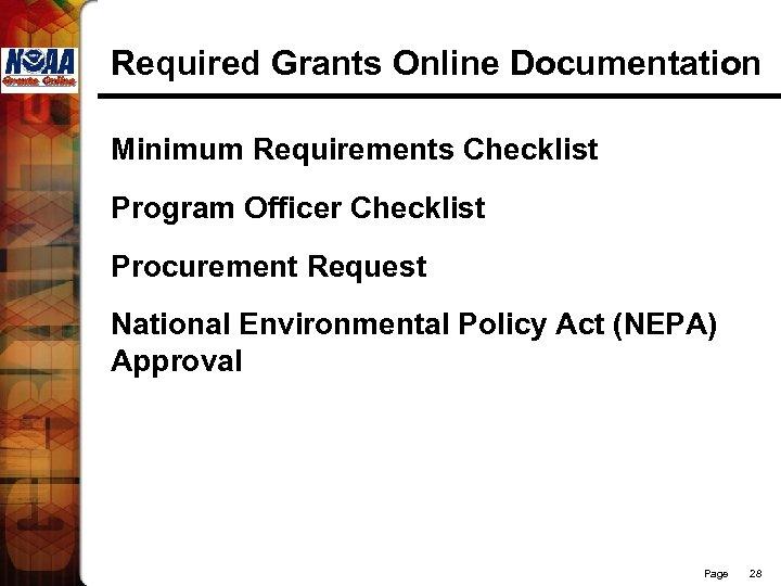 Required Grants Online Documentation Minimum Requirements Checklist Program Officer Checklist Procurement Request National Environmental