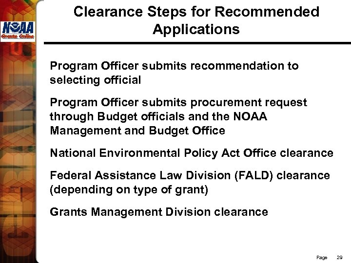 Clearance Steps for Recommended Applications Program Officer submits recommendation to selecting official Program Officer