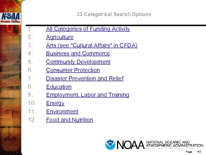 23 Categorical Search Options 1. 2. 3. 4. 5. 6. 7. 8. 9. 10.
