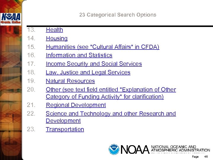 23 Categorical Search Options 13. 14. 15. 16. 17. 18. 19. 20. 21. 22.