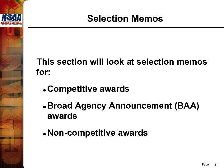 Selection Memos This section will look at selection memos for: l l l Competitive