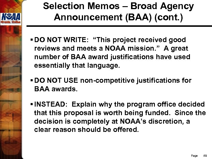 """Selection Memos – Broad Agency Announcement (BAA) (cont. ) § DO NOT WRITE: """"This"""