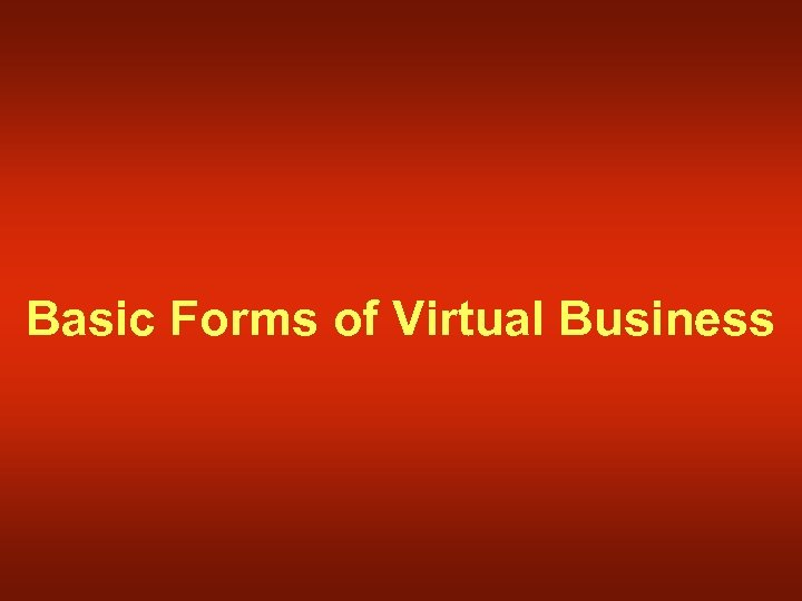 Basic Forms of Virtual Business