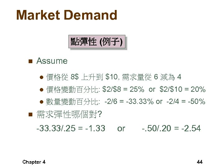Market Demand 點彈性 (例子) n Assume l l 價格變動百分比: $2/$8 = 25% or $2/$10