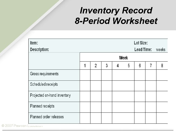 Inventory Record 8 -Period Worksheet © 2007 Pearson Education