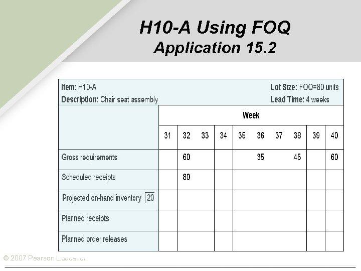 H 10 -A Using FOQ Application 15. 2 © 2007 Pearson Education