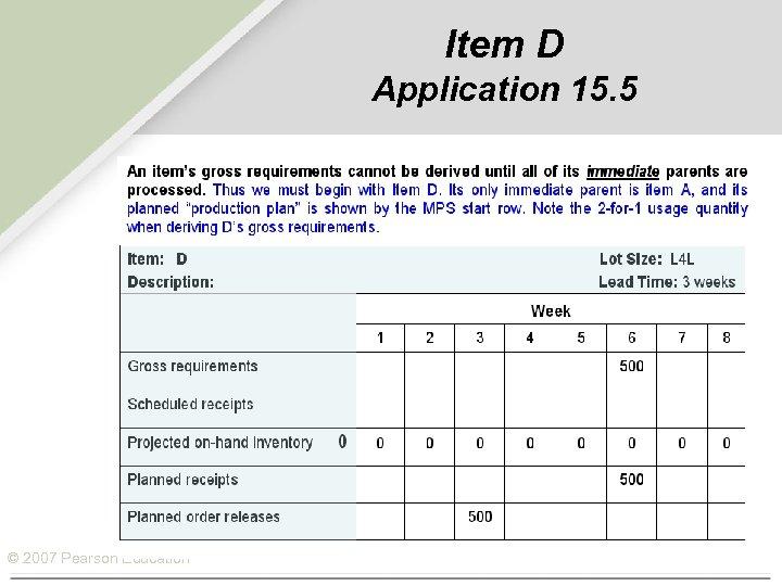 Item D Application 15. 5 © 2007 Pearson Education