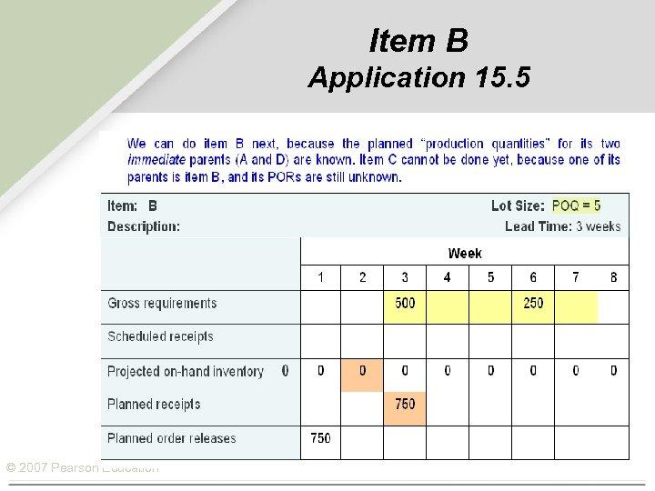 Item B Application 15. 5 © 2007 Pearson Education