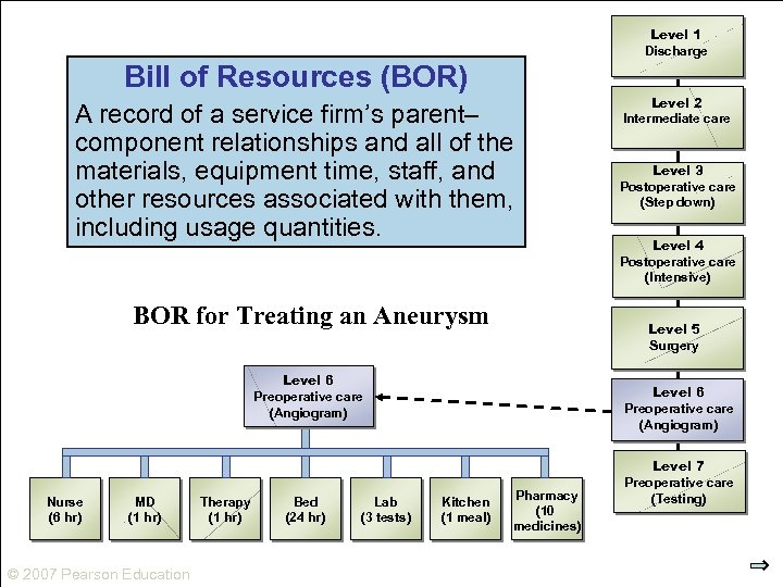 Level 1 Discharge Bill of Resources (BOR) A record of a service firm's parent–