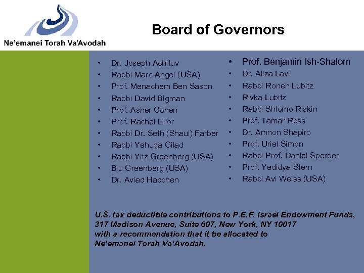 Board of Governors • • • Dr. Joseph Achituv Rabbi Marc Angel (USA) Prof.