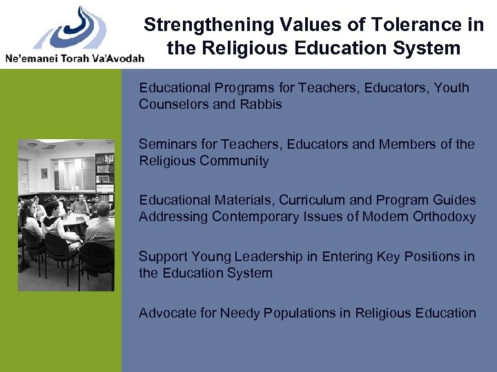 Strengthening Values of Tolerance in the Religious Education System Educational Programs for Teachers, Educators,