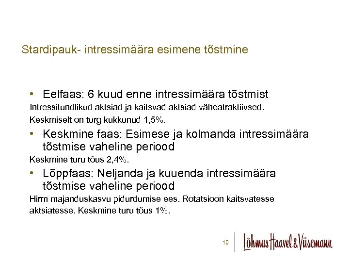 Stardipauk- intressimäära esimene tõstmine • Eelfaas: 6 kuud enne intressimäära tõstmist Intressitundlikud aktsiad ja