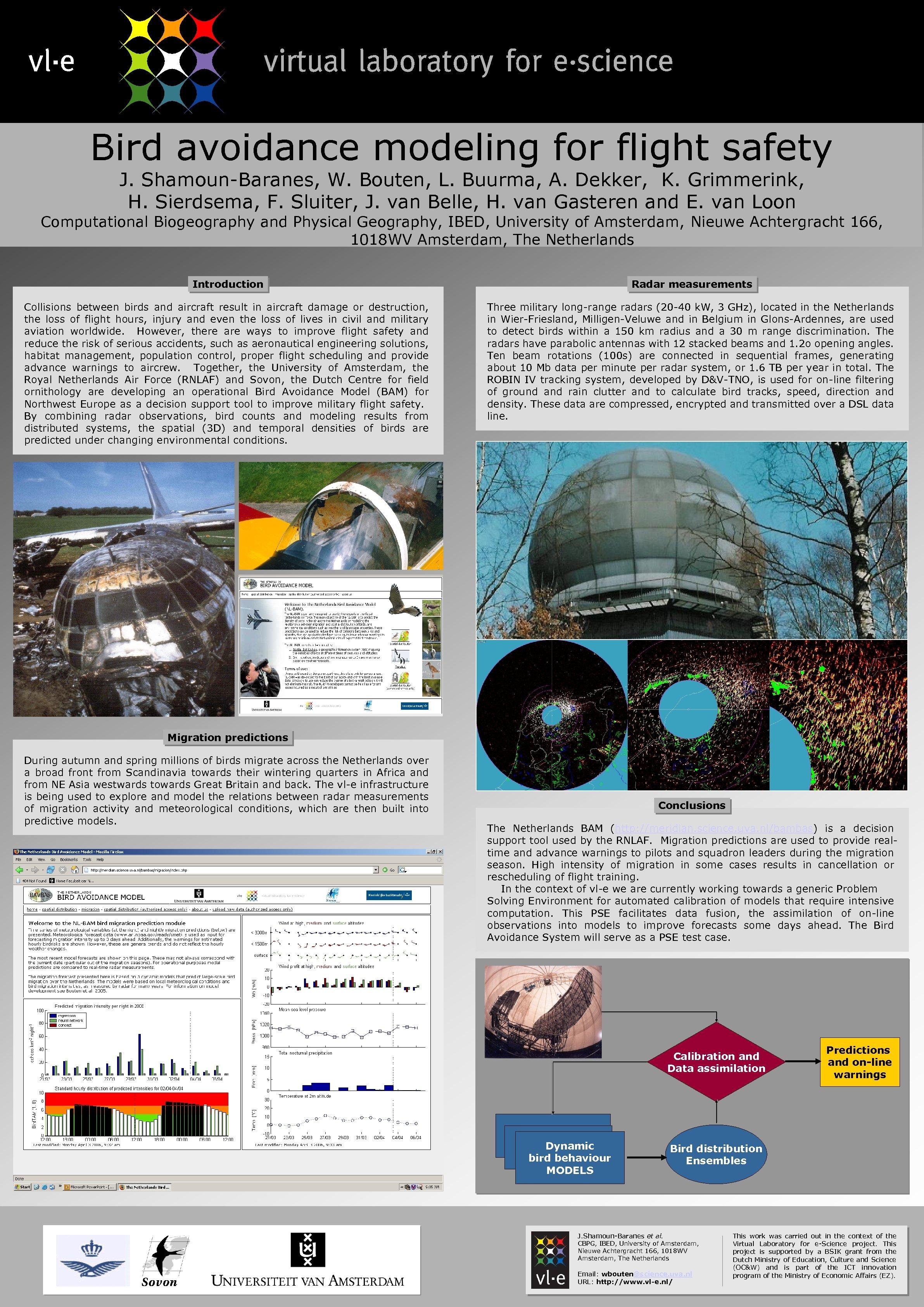 Bird avoidance modeling for flight safety J. Shamoun-Baranes, W. Bouten, L. Buurma, A. Dekker,