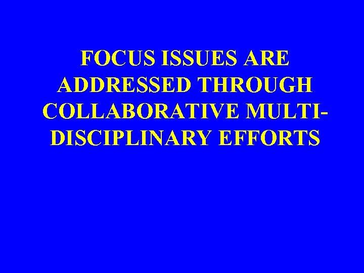 FOCUS ISSUES ARE ADDRESSED THROUGH COLLABORATIVE MULTIDISCIPLINARY EFFORTS