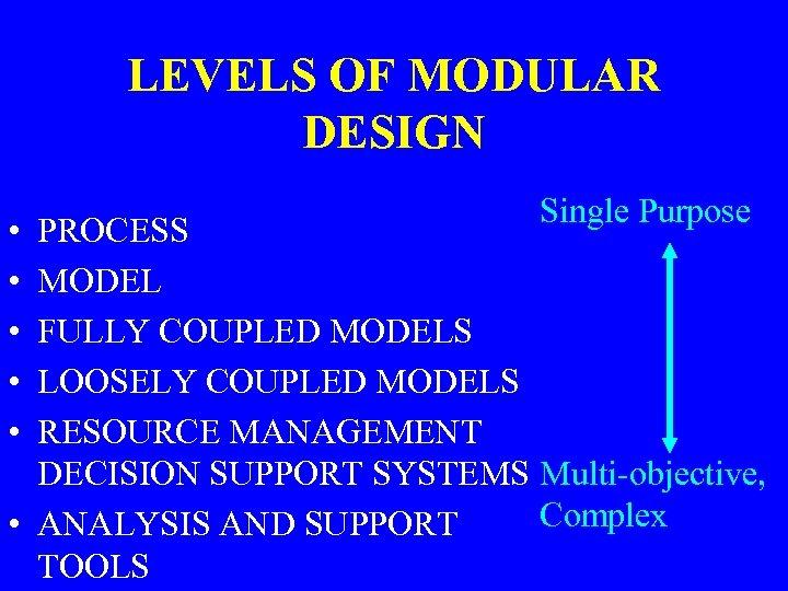 LEVELS OF MODULAR DESIGN • • • Single Purpose PROCESS MODEL FULLY COUPLED MODELS