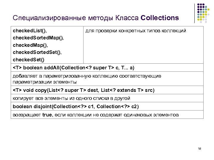 Специализированные методы Класса Collections checked. List(), checked. Sorted. Map(), checked. Sorted. Set(), checked. Set()