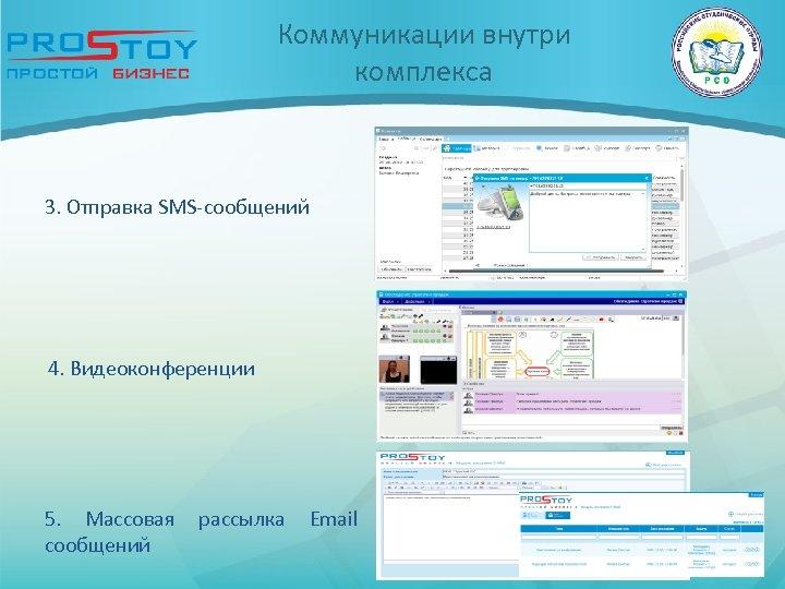 Коммуникации внутри комплекса 3. Отправка SMS-сообщений 4. Видеоконференции 5. Массовая сообщений рассылка Email