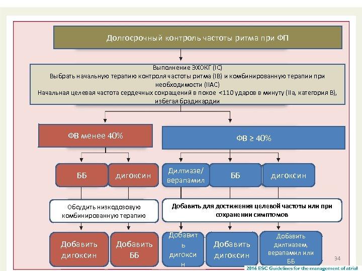 Долгосрочный контроль частоты ритма при ФП Выполнение ЭХОКГ (IC) Выбрать начальную терапию контроля частоты