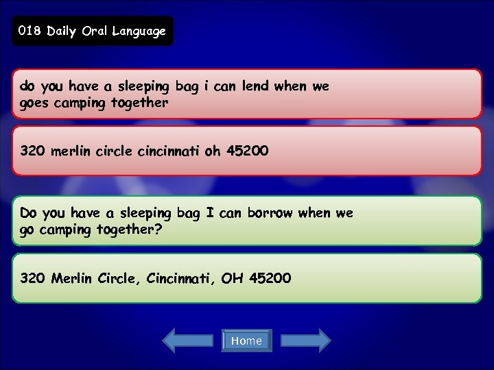 018 Daily Oral Language do you have a sleeping bag i can lend when