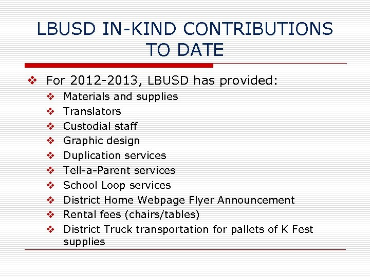 LBUSD IN-KIND CONTRIBUTIONS TO DATE v For 2012 -2013, LBUSD has provided: v v