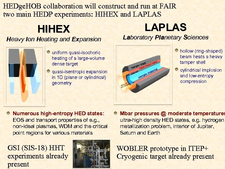 HEDge. HOB collaboration will construct and run at FAIR two main HEDP experiments: HIHEX