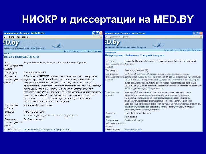 НИОКР и диссертации на MED. BY