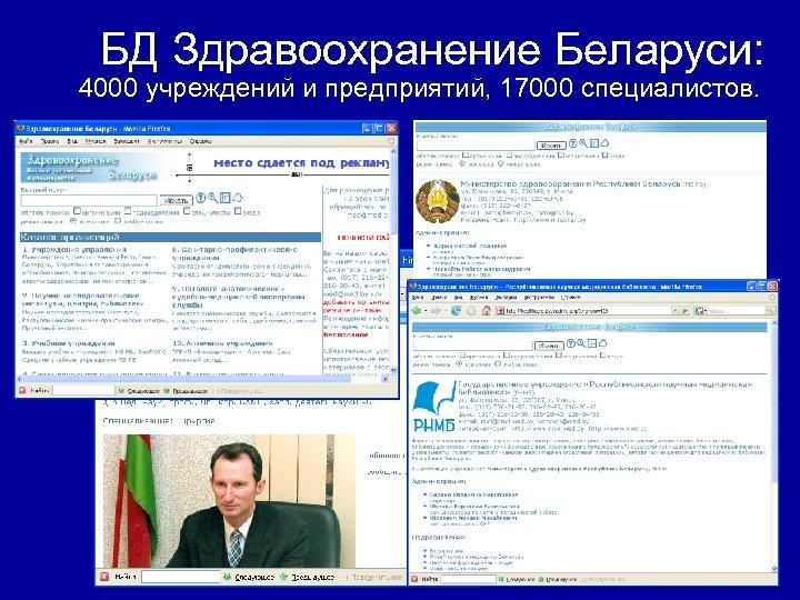 БД Здравоохранение Беларуси: 4000 учреждений и предприятий, 17000 специалистов.