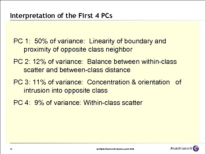 Interpretation of the First 4 PCs PC 1: 50% of variance: Linearity of boundary