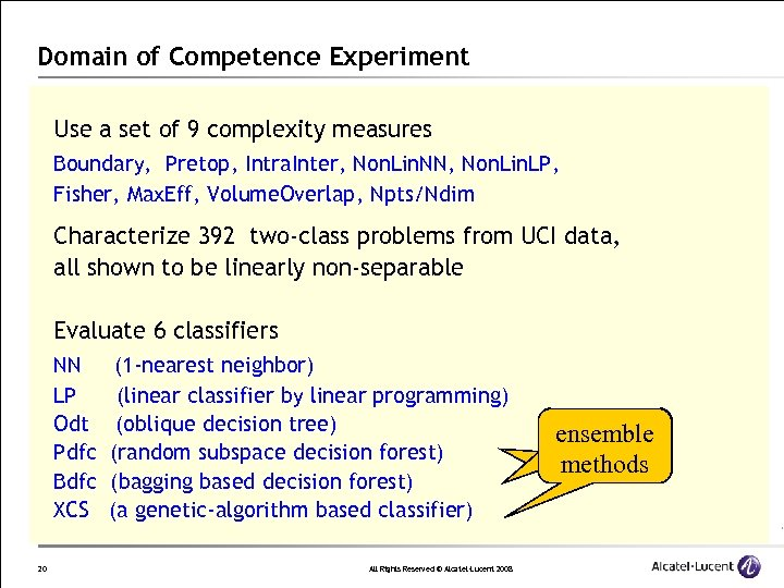 Domain of Competence Experiment Use a set of 9 complexity measures Boundary, Pretop, Intra.