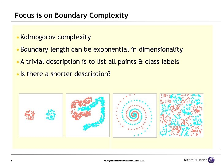 Focus is on Boundary Complexity • Kolmogorov complexity • Boundary length can be exponential