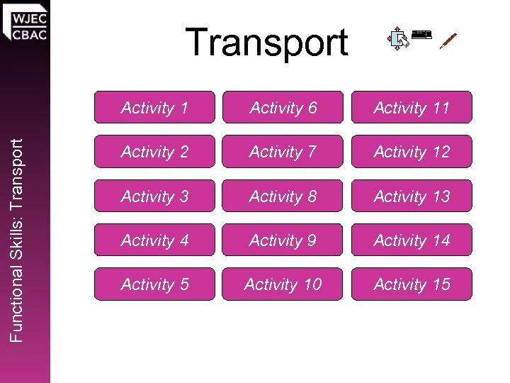 Transport Functional Skills: Transport Activity 1 Activity 6 Activity 11 Activity 2 Activity 7