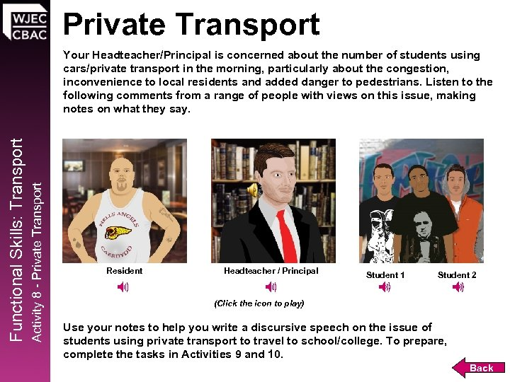Private Transport Activity 8 - Private Transport Functional Skills: Transport Your Headteacher/Principal is concerned