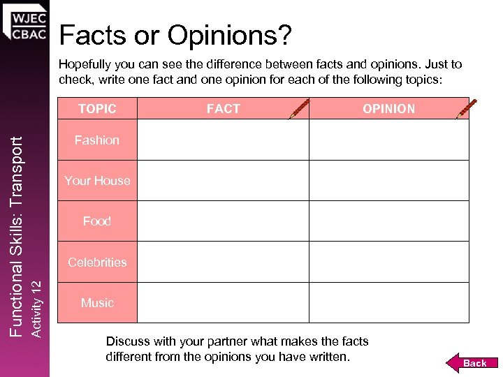 Facts or Opinions? Hopefully you can see the difference between facts and opinions. Just
