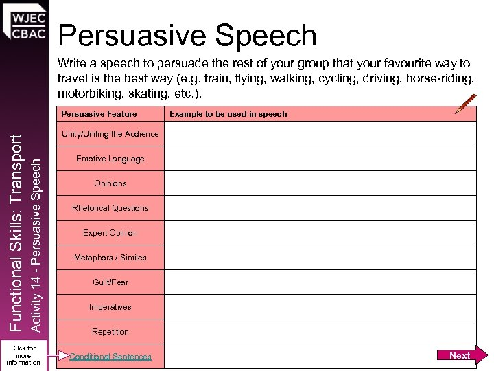 Persuasive Speech Write a speech to persuade the rest of your group that your