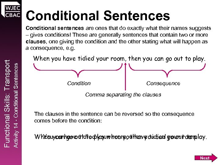 Conditional Sentences When you have tidied your room, then you can go out to