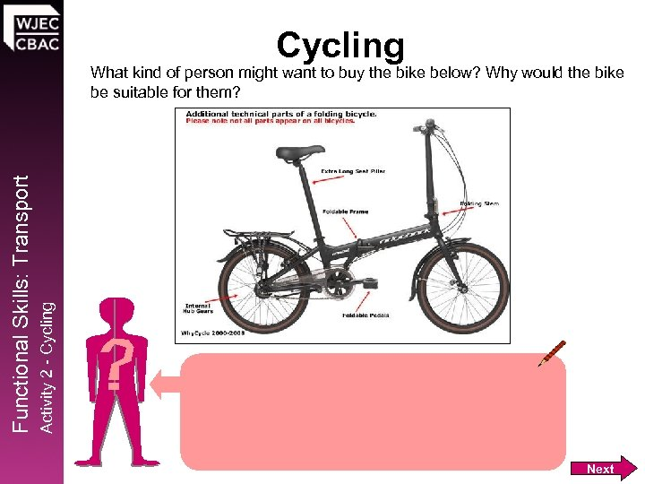 Cycling Activity 2 - Cycling Functional Skills: Transport What kind of person might want