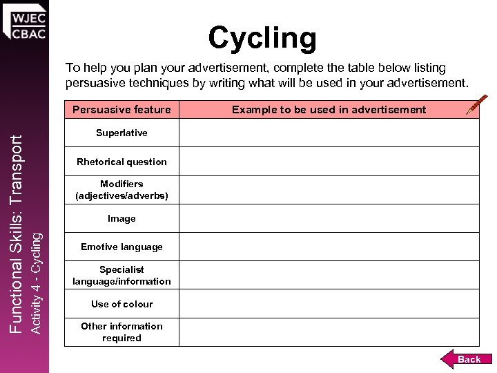 Cycling To help you plan your advertisement, complete the table below listing persuasive techniques