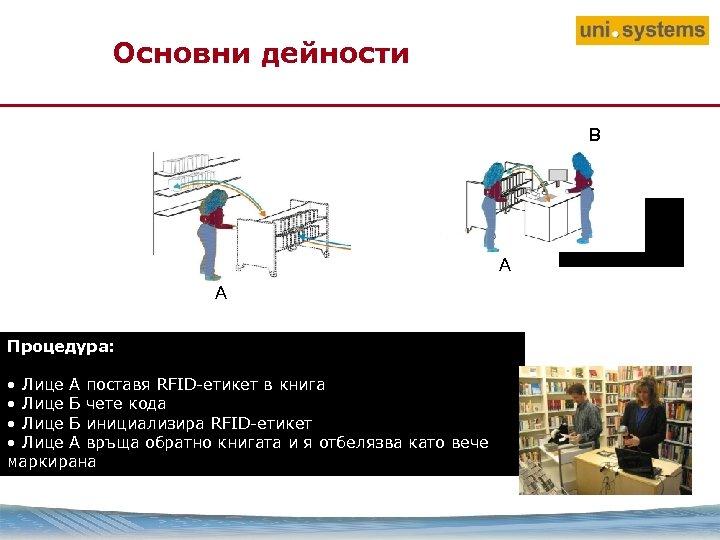 Основни дейности B A A Процедура: • Лице A поставя RFID-етикет в книга •