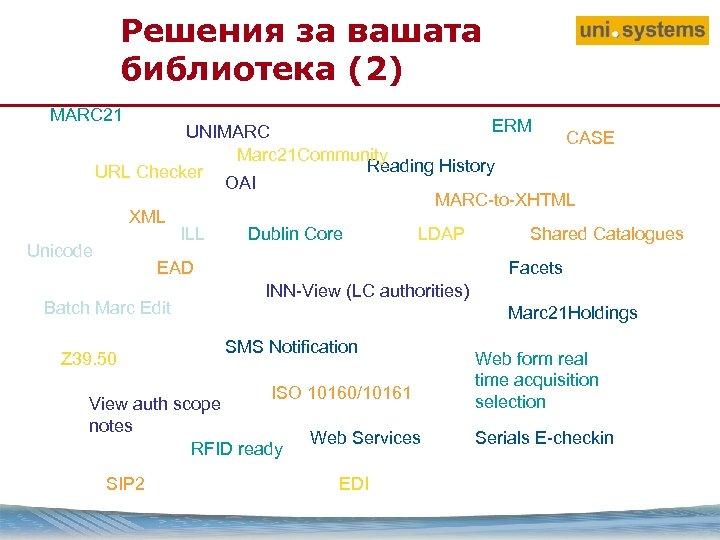 Решения за вашата библиотека (2) MARC 21 Unicode ERM UNIMARC CASE Marc 21 Community