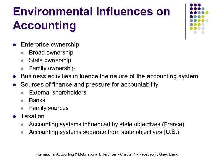 Environmental Influences on Accounting l l Enterprise ownership l Broad ownership l State ownership